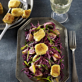 Red Cabbage Salad with Pear, Leek and Baked Cheese