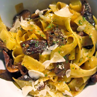 Pasta with White Wine and Porcini Mushroom Sauce.