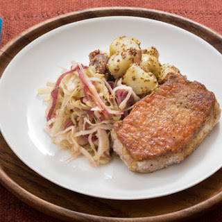 Pork Schnitzel with Hops-Braised Cabbage & German Potato Salad