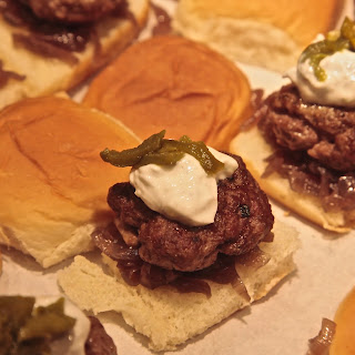 Lamb Sliders with Caramelized Onions & Raita, & Roasted Jalapenos