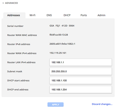 Configure IP address in Google Fiber account