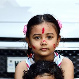 Love you my sister by Samir Kr Samanta - Babies & Children Child Portraits ( vijoydashami, puja, girls, sindurkhela, littlegirls, durgapooja,  )