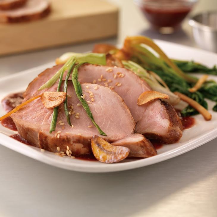 Sous-Vide Pork Loin with Roasted Plum Teriyaki Sauce and Gingered Baby Bok Choy