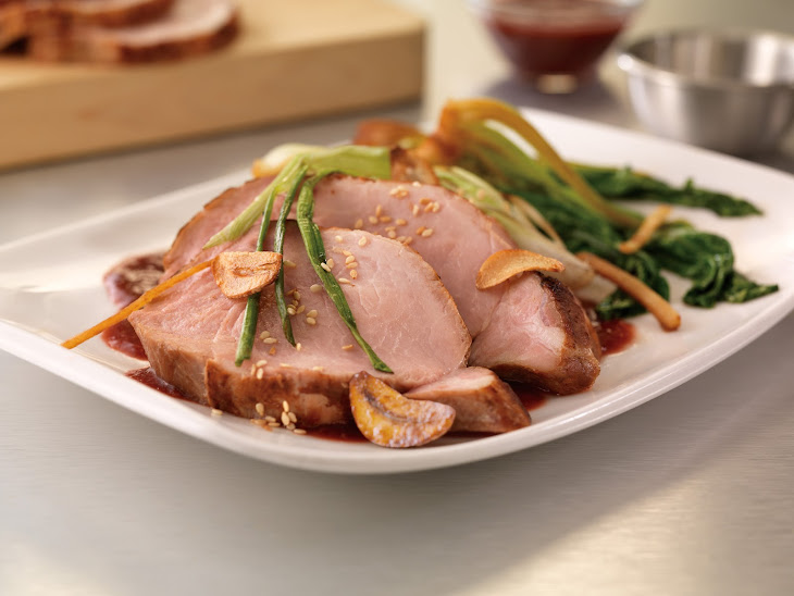 Sous-Vide Pork Loin with Roasted Plum Teriyaki Sauce and Gingered Baby Bok Choy Recipe
