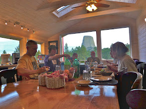 Photo: Sunday evening dinner at the Devils Tower Lodge.