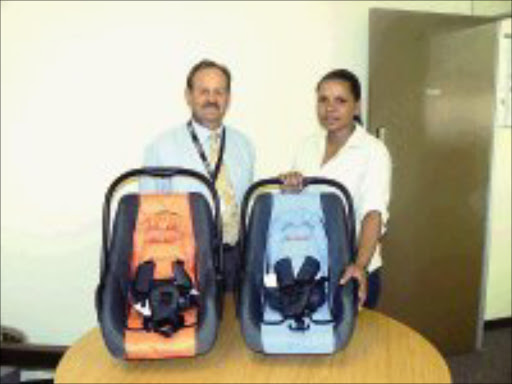 VIGILANT: Drie van Tonder and Eunice Legodi who found the defective car baby seats. © Unknown.