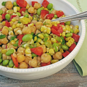 Chickpeas, Corn and Red Peppers with Honey-Lime Vinaigrette