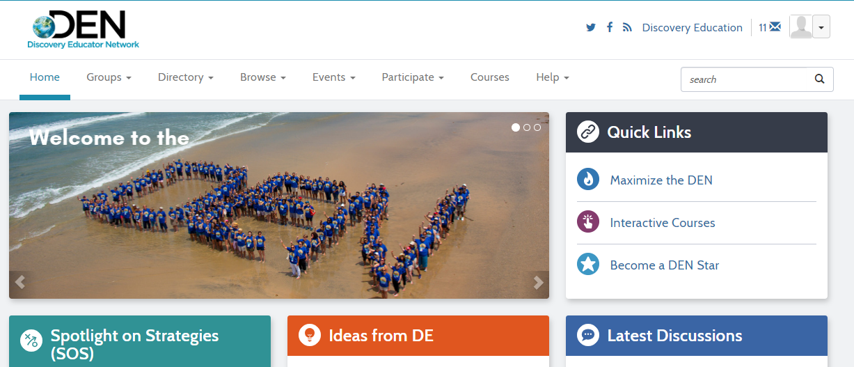 A picture of what the Discovery Education Network homepage looks like.