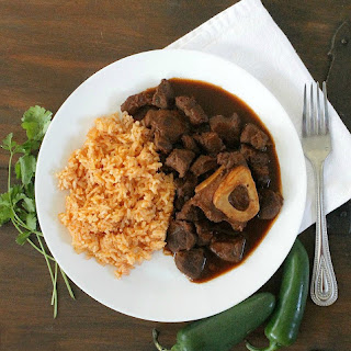 Braised Chile Colorado Beef Shanks, or Chamorros con Chile Colorado.
