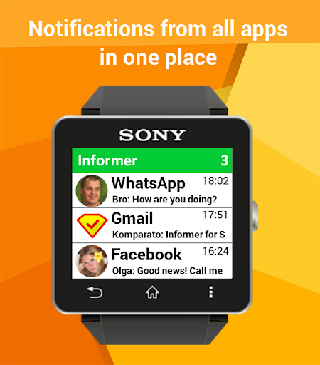 Notifications Sony SmartWatch