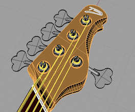 Photo: The headstock. Notice I've added a SuperJ inspired cut near the logo. One I add the truss rod access cavity it won't look so plain anymore. If it still does, I'll add a model logo near the G tuning post.