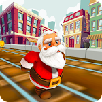 Santa Claus Gold Run for Christmas Gifts Icon