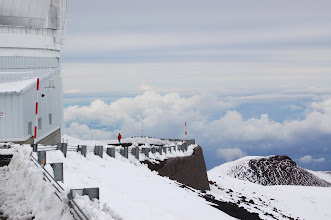 Photo: This is the Canada-France-Hawaii Telescope. The ridge on which it and several other facilities sit is only about 10 ft. lower than the true summit, thus the tops of the observatories themselves are higher than the summit.