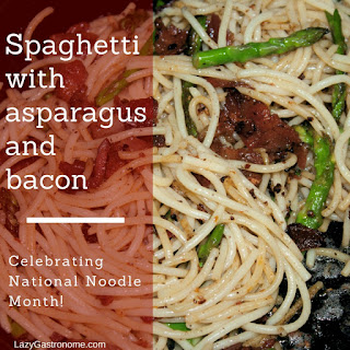 Spaghetti with Asparagus and Bacon – March is Noodle Month!.