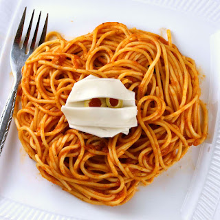 Mummy Meatballs with Spaghetti.