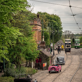 Trams and automobiles by Sue Woollard - Transportation Other ( automobiles, trams, museums, cars, street, pre war, crich )
