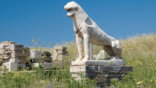 Greco-Roman antiquities line the Sacred Way on the island of Delos, Greece.