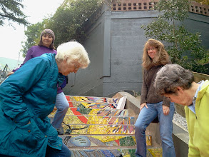 Photo: Hidden Garden Steps (16th Avenue, between Kirkham and Lawton streets in San Francisco's Inner Sunset District) organizing committee members and other volunteers (left to right: Connie Ngarangad, Judy Goddess, Licia Wells, and Liz McLoughlin), on Saturday, November 2, 2013, had their first onsite visit as installation of the 148-step ceramic-tile mosaic designed and created by project artists Aileen Barr and Colette Crutcher continued. For more information about this volunteer-driven community-based project supported by the San Francisco Parks Alliance, the San Francisco Department of Public Works Street Parks Program, and hundreds of individual donors, please visit our website at http://hiddengardensteps.org.