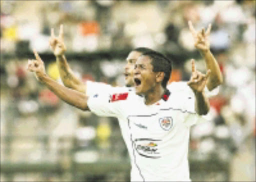 SCORER: Daine Klate of SuperSport celebrates his goal against Ajax. 22/02/09. PIc. Veli Nhlapo. © Sowetan.