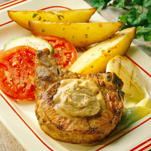 Dad's Grilled Pork Chops with Savory Steak Butter
