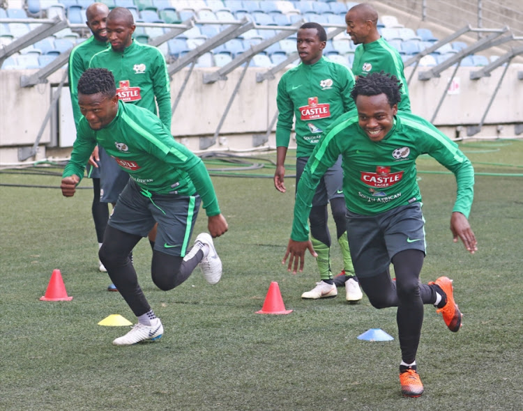 Bafana Bafana players being put through their paces during a training session at Moses Mabhida Stadium in Durban on September 07, 2018.
