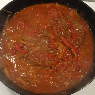 Tomato & Pepper Smothered Cube Steak.