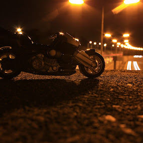 Night Ride by Graeme Garton - Artistic Objects Toys ( cycle, motocycle, bike, motorbike, toy, motor, motorway, night )