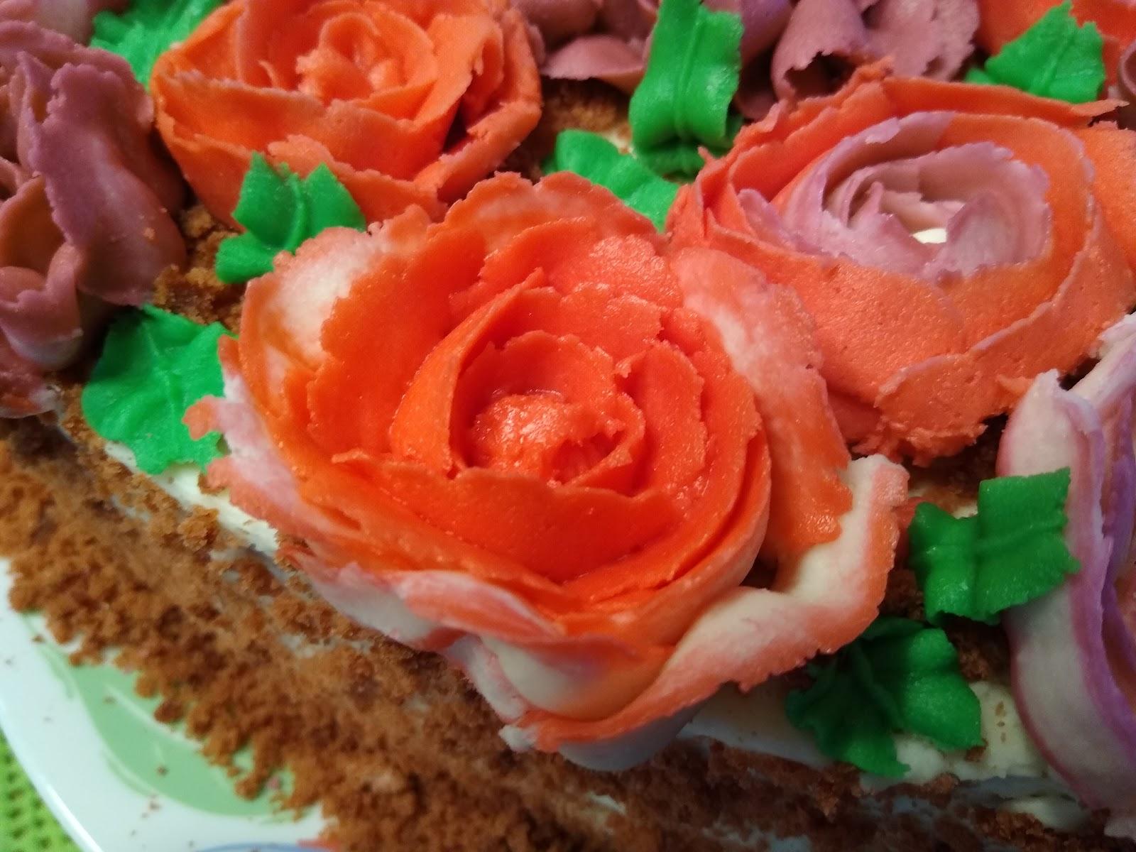 orange rose buttercream flower