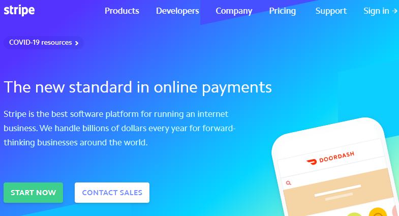 página inicial do Stripe para pagamento online