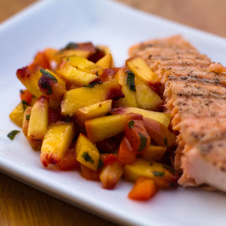 Grilled Salmon with Peach Red Pepper Salsa