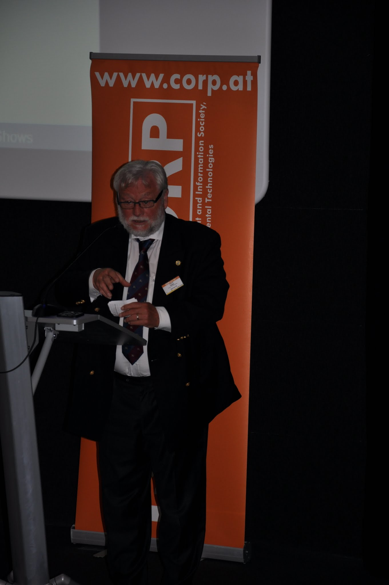 Photo: Prof. Bernd Hallier, Keynote Speech at REAL CORP 2015
