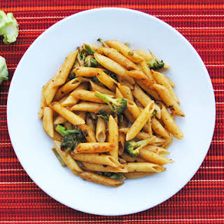 Spicy Penne with Broccoli and Garlic.