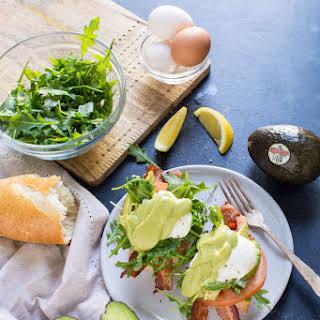 Eggs Benedict BLT with Avocado Hollandaise.