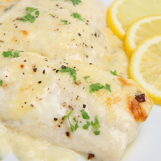 Broiled Haddock Fillets with Lemon Sauce.