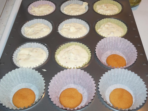 Beat together cream cheese and sugar until smooth. Add eggs and vanilla and beat...
