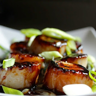Soy and Sesame Glazed Scallops.