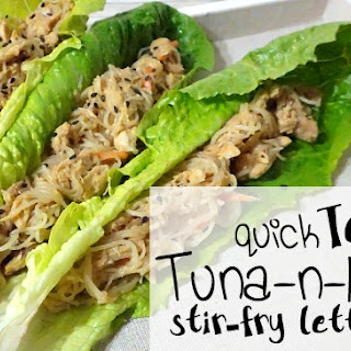 Quick Teriyaki Tuna & Noodle Stir-Fry Lettuce Wraps