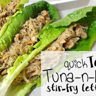 Quick Teriyaki Tuna & Noodle Stir-Fry Lettuce Wraps.