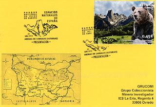 """Photo: Matasellos """"Primer día"""" del sello del Parque natural de los Picos de Europa"""