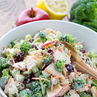 Fresh Broccoli and Apple Salad with Walnuts.