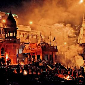 Manikarnika Ghat by Arup Acharjee - City,  Street & Park  Neighborhoods ( manikarnika, hindu, ghat, crematorium, varanasi, india )