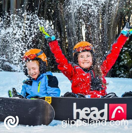 Mt Baw Baw winter kids-throwing snow