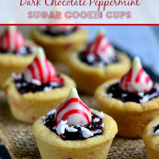Dark Chocolate Peppermint Sugar Cookie Cups