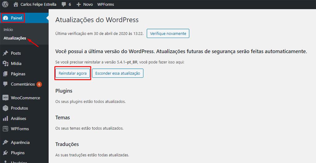 painel de atualizações para reinstalar wordpress