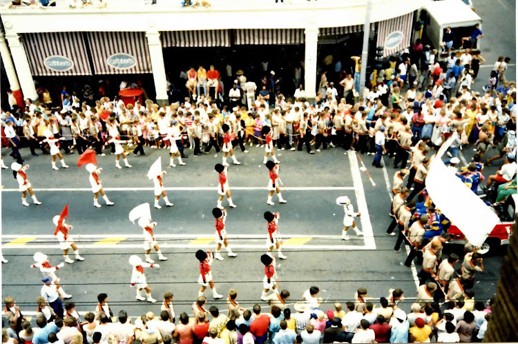 The view of the University of Pretoria's RAG parade in the late 1980s from the room in which Klaas de Jonge was holed up.
