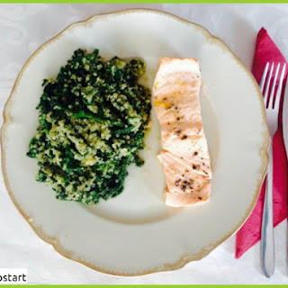 Clean Eating Steamed Salmon with Quinoa Spinach.