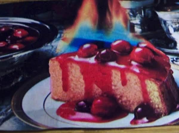 Flaming Cherries Jubilee Rum Cake