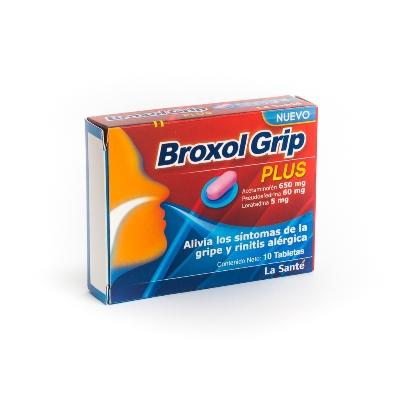 Acetaminofen + Clorfeniramina Broxol Grip Plus 650/60mg x10 Tabletas La Sante