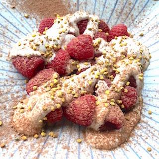 Raspberries With Raw, Vanilla Cashew Cream.
