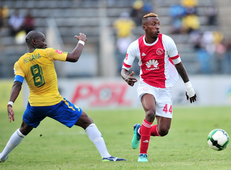 Ajax Cape Town forward Yannick Zakri (R) pulls away from Mamelodi Sundowns captain Hlompho Kekana during a Absa Premiership match at Lucas Moripe Stadium, Rustenburg on April 28 2018. Zakri was on loan at Ajax from Sundowns until the end of the previous season.
